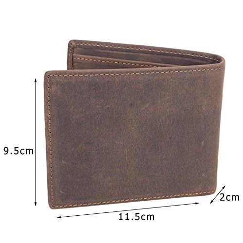 BAIGIO Herren Retro Geldbörse Geldbeutel Kreditkartentasche Hochformat Börse aus echtem Leder Taschen, Braun