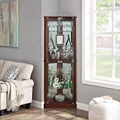 Home Bar Cabinetry BELLEZE Woody Lighted Corner Curio Cabinet Tempered Glass Door 6 Shelves, Walnut home bar cabinetry