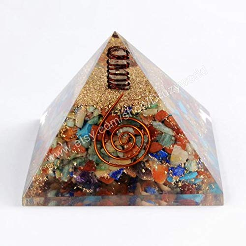 Spiritual Elementz Multi Orgone Pyramid(3 Inch) Stone for Generating Positive Energy and Removing Negative Ones.