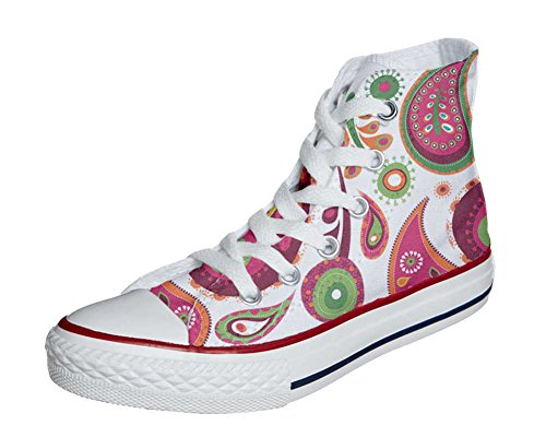 Converse All Star Customized - zapatos personalizados (Producto Artesano) White Green Paisley 2