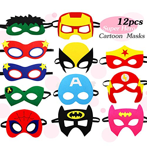 12 pcs Super Heros Masks for Kids Party Supplies Cosplay Character Mask Party Favors for Birthday Boys or Girls