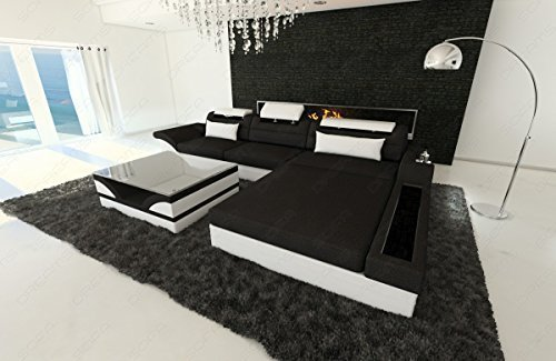 NEW Buscar Sofá de tela Parma Forma L con LED Negro - Blanco ...