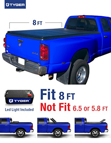 Tyger Auto TG-BC3D1012 TRI-FOLD Truck Bed Tonneau Cover 2002-2018 Dodge Ram 1500; 2003-2018 Dodge Ram 2500 3500 | Fleetside 8' Bed | For models without Ram Box