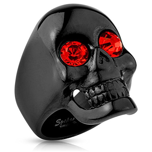 Glossy Surface Skull with Red Gem Eyes Black IP Stainless Steel Ring (Red Eyes Gem)