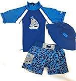 UV SKINZ Boys' 3-Piece Swim Set, UPF 50+ Sun Protection (Grey Cracked Glass, 5)