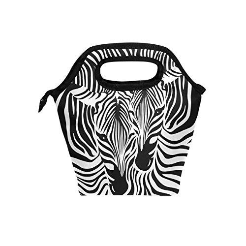 - JOYPRINT Lunch Box Bag, Animal Zebra Print Abtract Insulated Cooler Ice Lunchbox Tote Bag Handbag for Men Women Kids Adult Boys Girls