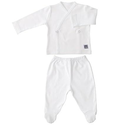 Conjunto Bebé Recién Nacido - Primera Puesta - Camiseta Cruzada y Polaina con Pie - Algodón