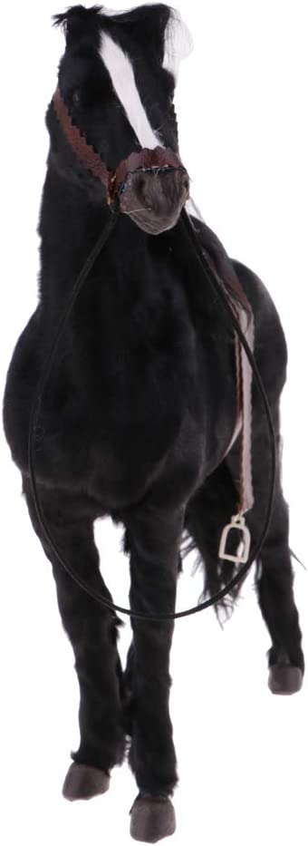 Sharplace 1/6 Figura de Caballo Semental Animal Adornos de Muñeca - Negro