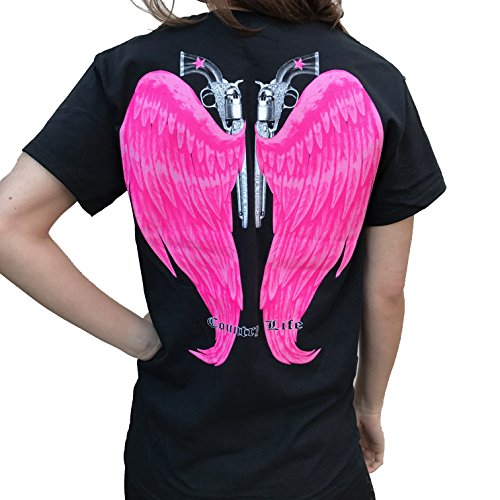 Country Outfitters - Country Life Guns and Angel Wings Black and Pink Short Sleeve Shirt (X-Large)