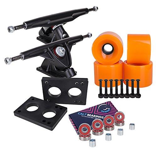 Cal 7 Longboard Skateboard Combo Package with 70mm Wheels & 180mm Lightweight Aluminum Trucks, Bearings Complete Set & Steel Hardware (Black Truck + Solid Orange Wheels)
