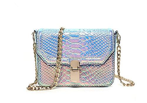 Remeehi Hologram Snake Skin Leather Shoulder Bag Crossbody Bag with Chain (Hologram Purple)
