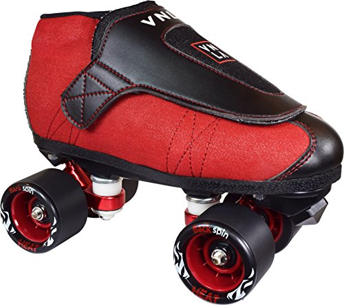 VNLA Code Red Kids/Adult Jam Skates | Quad Roller Skates for Women and Men from Vanilla - Mens/Ladies Womens Indoor Speed Skate Rollerskates for Men Women Boys and Girls Girl (Red, and Black) ()