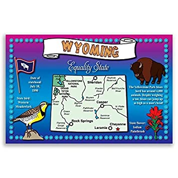 Amazon.com : WYOMING STATE MAP postcard set of 20 identical ...