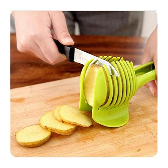 Best Utensils Tomato Slicer Lemon Cutter Multipurpose Handheld Round Fruit Tongs ABS Plastic Onion Holder Easy Slicing Fruits & Vegetable Tools Kitchen Cutting Aid Gadgets Tool 2 MADE IN CHINA: Unique design makes slicing fruits and vegetables more quickly and easily MULTI-PURPOSE: Conveniently designed slicing aid, perfect tool for any task in the kitchen, ideal for tomatoes, onions, lemon, citrus fruit & more! DURABLE & SAFETY: Made of 100% food grade Material, eco-friendly, durable in use. Clamp design, multifunctional, also couble be used as food tongs.