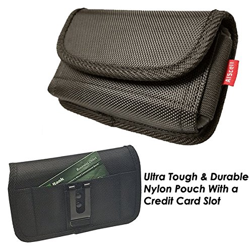 AIScell Universal Cellphone Pouch [Sideways Heavy Duty Nylon Pocuh Wallet Case Belt Clip Holster 6.15x3.00x0.80 In] Fits Iphone XS, XR,X, 8, 7, 6S With Hybrid Dual Layer Protective Cover,TPU Case ()