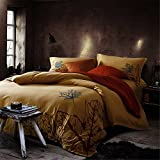 1500T Brushed Cotton Special Embroidery Duvet Cover Set 4piece Without Comforter Floral Styleextra queen^^^Blue Red Flower darkbeige base