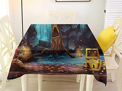 L'sWOW Tablecloth Large Square Tablecloth Fantasy Cartoon Style Cave Landscape with a Big Tree Treasure Chest Lamps and Waterfall Multicolor Easy 70 x 70 Inch