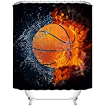 fan products of Fangkun Shower Curtain Decor Set - Basketball Ball on Fire and Water Flame Splashing Desgin Bath Curtains - Polyester Fabric Waterproof Mildew - 12pcs Shower Hooks (72 x 72 inches, YL086#)
