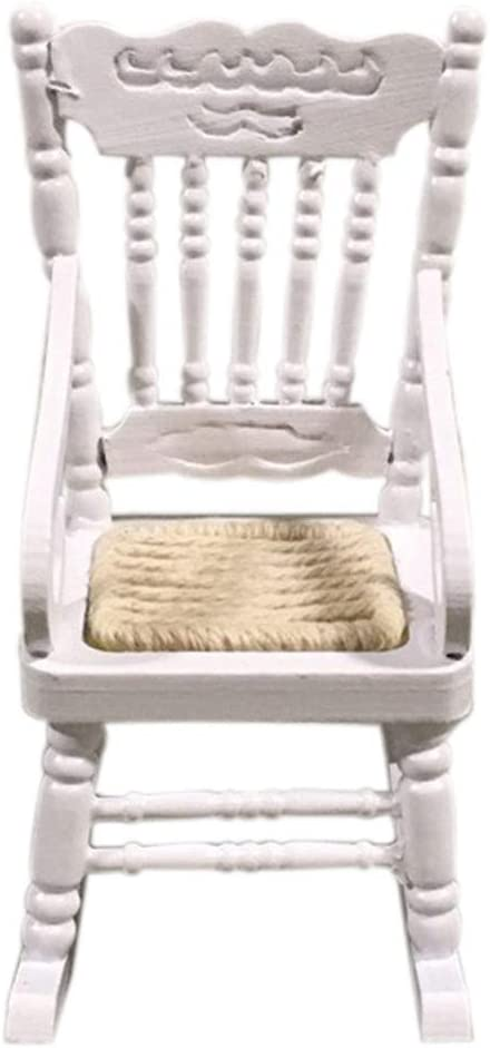 Clement Attlee Miniature Dollhouse Wooden Rocking Chair Scene Model 1:12 Scale Mini Size Emulation Doll House Furniture and Accessories for DIY Garden Home Kitchen Dining Room Table Chair D/écor