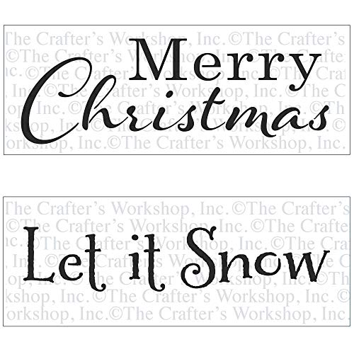 Crafter's Workshop Stencil 2 Pack, Reusable Stenciling Templates for Art Journaling, Mixed Media, and Scrapbooking - Two 16.5 x 6 inch Sheets (Merry Christmas/Let it Snow)