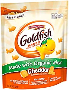 Pepperidge Farm Goldfish Crackers Made with Organic Wheat, Cheddar, 8 Ounce