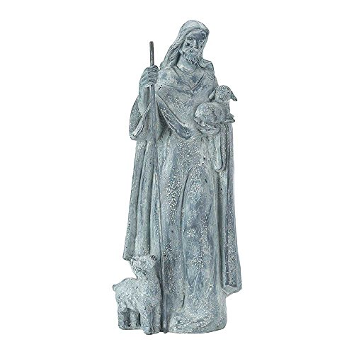 Jesus Shepherding His Flock 15 inch Gray Resin Stone Garden Statue
