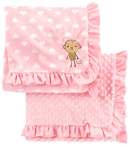 Price comparison product image Simple Joys by Carter's Baby Girls' 2-Pack Plush Blankets, Pink, One Size