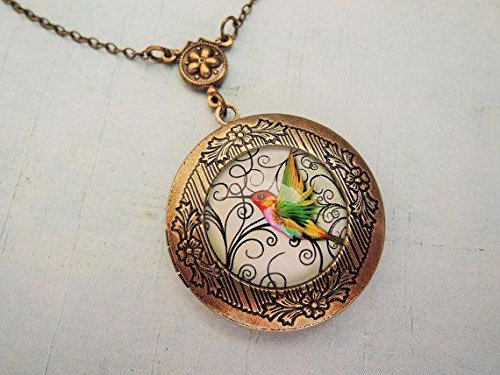 Vintage Hummingbird Necklace Locket-Art Jewelry Necklace Locket-Brass Plated Pendant-Charm Pendant-Necklace Accessories-Handmade Art Jewelry-Glass Necklace Jewelry For Women or Men