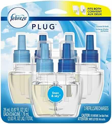 Febreze Plug in Air Freshener Scented Oil Refills, Linen & Sky, 3 Count