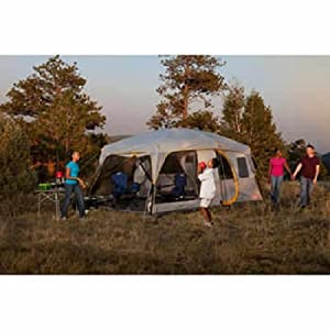 Click to open expanded view Coleman Weathermaster II Screened 10 Person 16 X 10 Tent with Hinged Door and Autoroll Windows, 7 Feet Tall and Fits 4 Queen Air Beds