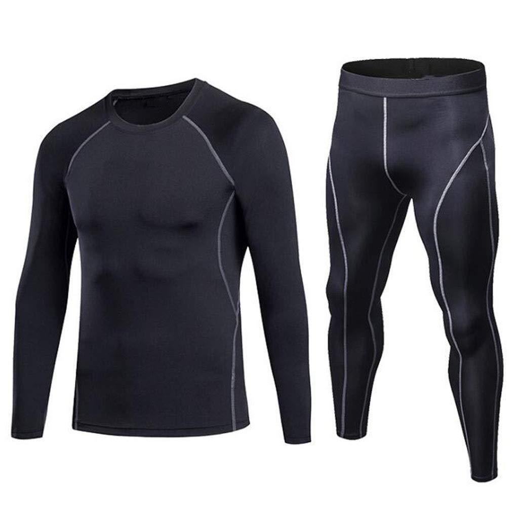 BLACK Medium Man Compression Tights & Shirts Set Gym Leggings Fitness Sports Running Yoga Athletic Pants+Shirt Suit