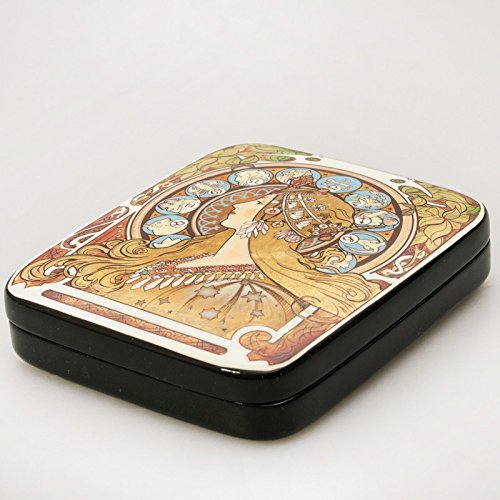 Beautiful Hand-painted Papier-mache Lacquer Box for Jewelry Zodiac Lacquer Box (A. Mucha) Great Gift for Women by Russian Lacquer Miniature
