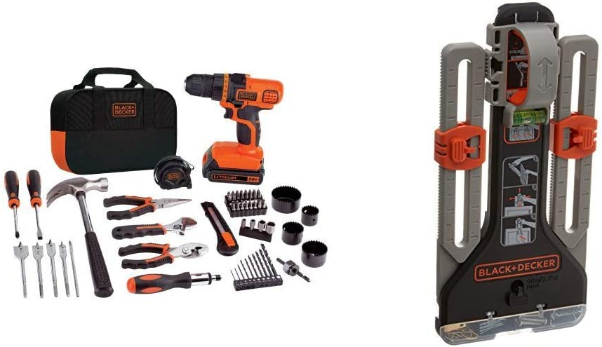 BLACK+DECKER 20V MAX Drill/Home Tool Kit with MarkIT Picture Hanging Tool Kit (LDX120PK & BDMKIT101C)