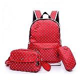 MIUCOO Polka Dot 3pcs Kids Book Bag School Backpack Handbag Purse Girls Teen (B-Red)