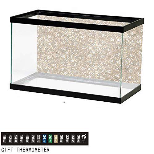 wwwhsl Aquarium Background,Mosaic,Antique Roman Time Inspired Rock Design with Circled Modern Lines Image Print,Tan Peach White Fish Tank Backdrop 48