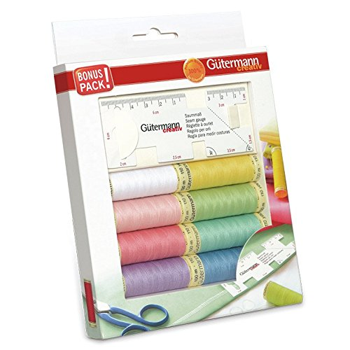 Gutermann Pastel Sew-All 100% Polyester Thread Set 8 x 100m Reels with Flexible Sewing Gauge by Gutermann