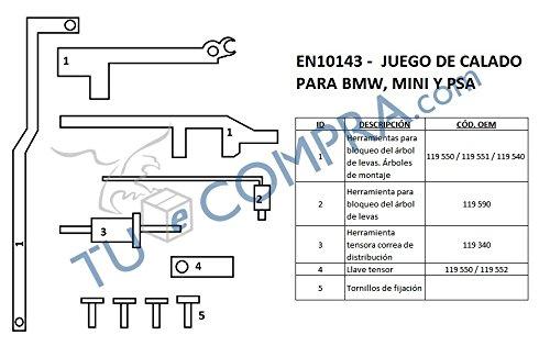 Tuecompra S.L. Juego DE Calado para REGLAJE DE DISTRIBUCIONES BMW Mini Y Citroen Peugeot: Amazon.es: Coche y moto