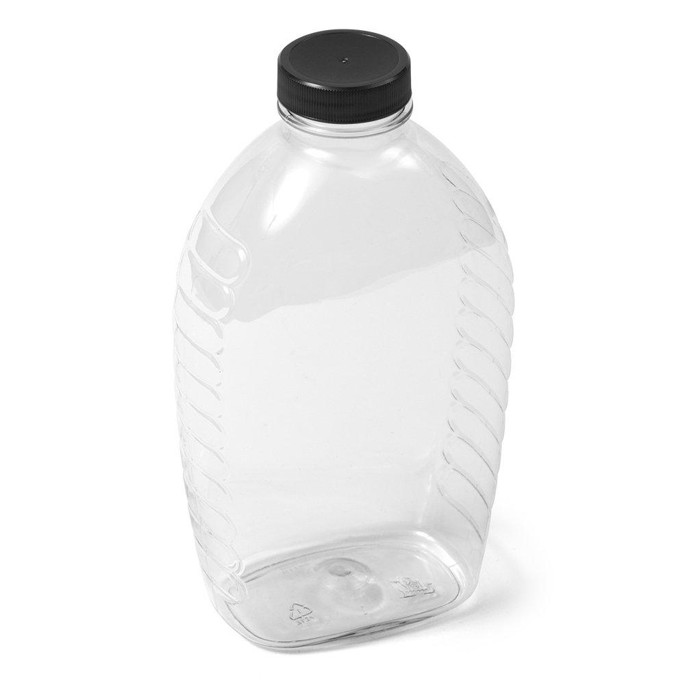 (115) Clear Oval PET Honey Jar - 2 lb - Black Flat Cap - Case of 115