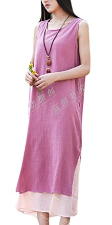 d1fd9107d3 Image Unavailable. Image not available for. Color  Enlishop Women s Loose Cotton  Linen Sleeveless Split Maxi Dress ...