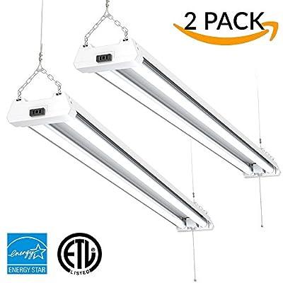 Sunco Lighting - ENERGY STAR, ETL - 4ft 40W LED Utility Shop Light, 4000lm 120W Equivalent, Double Integrated LED Fixture, Ceiling, Garage, Workshop, Linkable, Frosted