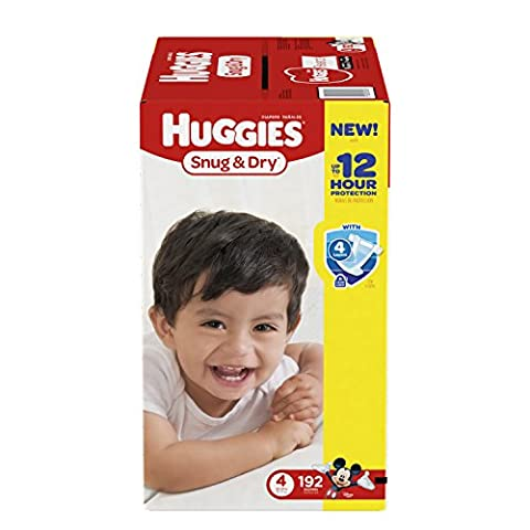 Huggies Snug & Dry Diapers, Size 4, 192 Count (One Month Supply) (Packaging may vary) - 2 Step System