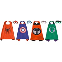 Perellier Kids Superhero Capes and Masks of 4 Superheroes. Ideal for Fun Parties, Game Play, Great Halloween Costumes…