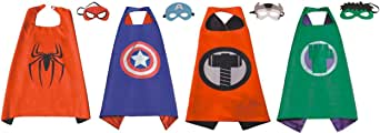 Perellier Kids Superhero Capes and Masks of 4 Superheroes. Ideal for Fun Parties, Game Play, Great Halloween Costumes - Superhero Fun and Games - Variety Pack 2