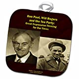 3dRose Sandy Mertens Writers World - Ron Paul Will Rogers and the Tea Party - 8x8 Potholder (phl_26361_1)