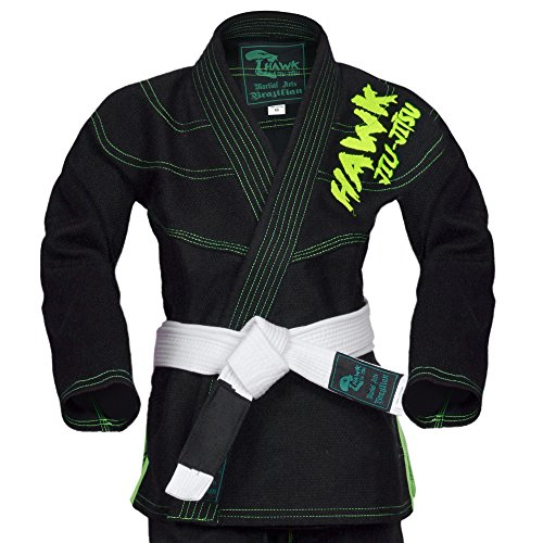 Hawk Kids Brazilian Jiu Jitsu Suit Youth Children BJJ Gi Kimonos Boys & Girls BJJ Uniform Lightweight Preshrunk Pearl Weave Fabric, with Free White Belt, 1 Year Warranty!!! (K00, Black)