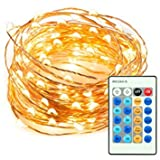 100 LED Warm White String Light Kit with Remote 33 Feet | Christmas Lights with USA Plug and Multi-Function Dim, Blink | Decoration for Tree, Holidays, Wedding, Banquet, Party