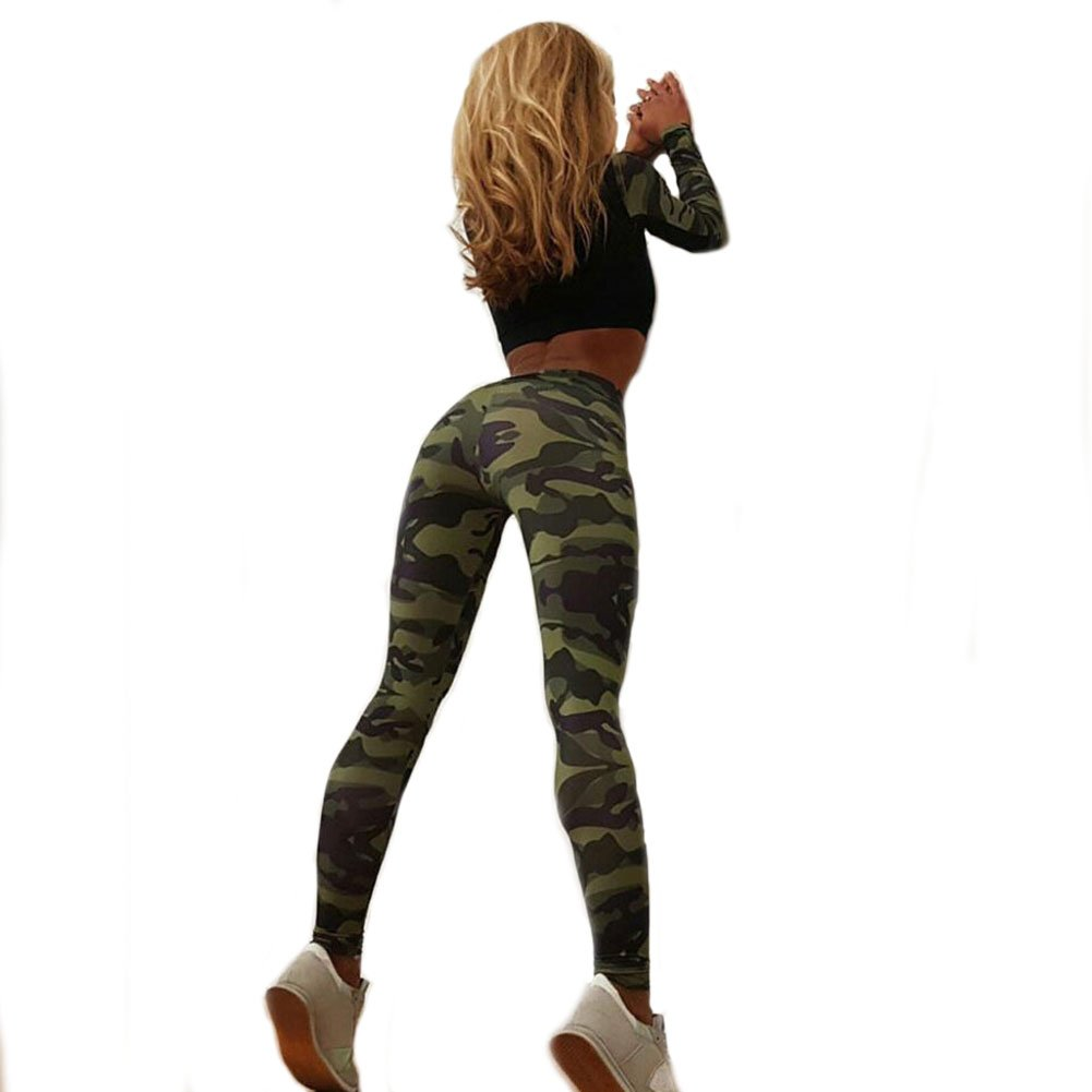 41993a3362 Amazon.com: Lanyan Women Camouflage 2Pcs Tracksuit Gym Workout Running  Sports Leggings Crop Top + Yoga Pants: Clothing