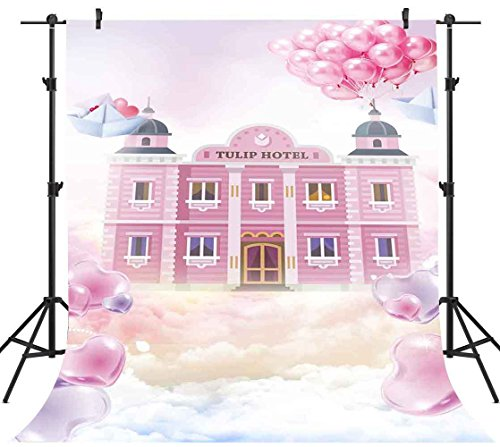 Hotel Balloon - FH 5x7ft Tulip Hotel Photography Backdrop Romantic Pink World Sky Balloon Heart Background Themed Party YouTube Backdrops Photo Booth Studio Props TMFH171