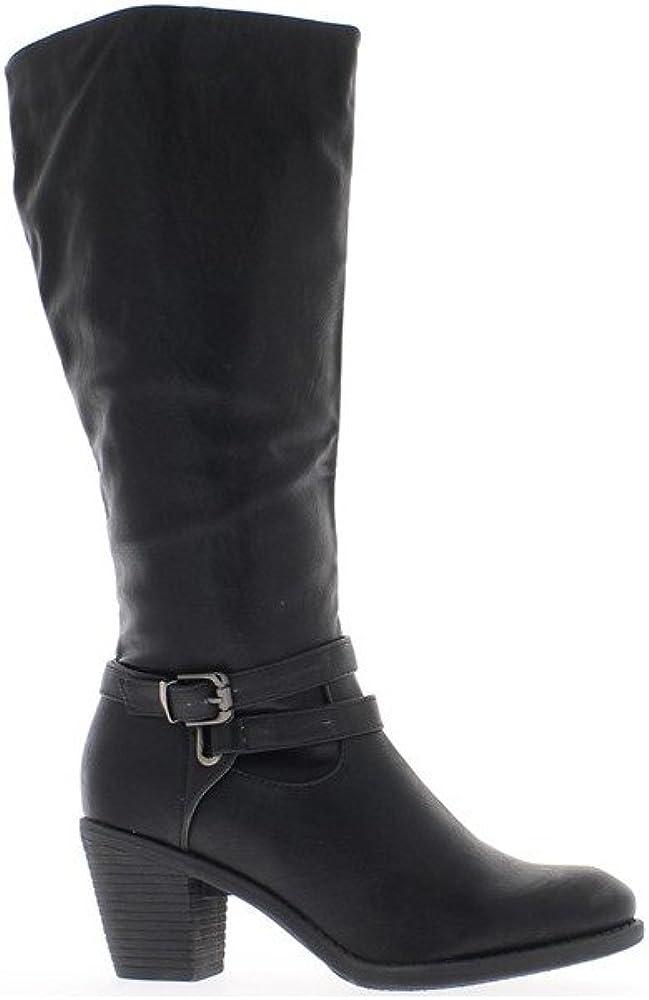 Donne nere stivali con tacco di 7cm con flangia sottile