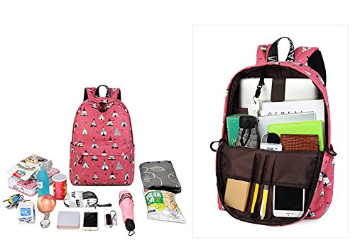 mignon 14 femmes portable collège ensemble Chambre pouces Bookbags capacité dos filles de d'impression haute bleu imperméable motif Red sac Fashion Winnerbag à 4HS0q0